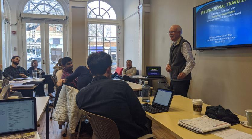 Dr. Richard L. Guerrant teaching the Global Health Leadership Track 2020