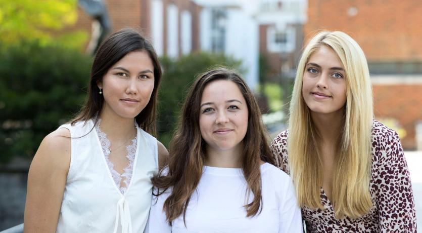 """From left, Megan Eisenfelder, Sophie Wong and Magnolia """"Maggie"""" Matthews have spent significant time in South Dakota conducting research and working with high school students. (Photo by Dan Addison, University Communications)"""